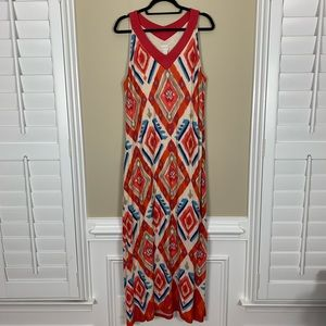 CHICO'S Boho Tie Dye Print V-Neck Maxi Tank Dress